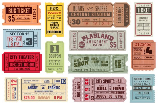 Retro tickets. Vintage cinema ticket concert and festival event, movie theater coupon. Circus show, raffle paper voucher vector set