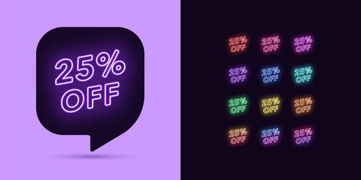 Neon Discount Tag, 25 Percentage Off. Offer Sale