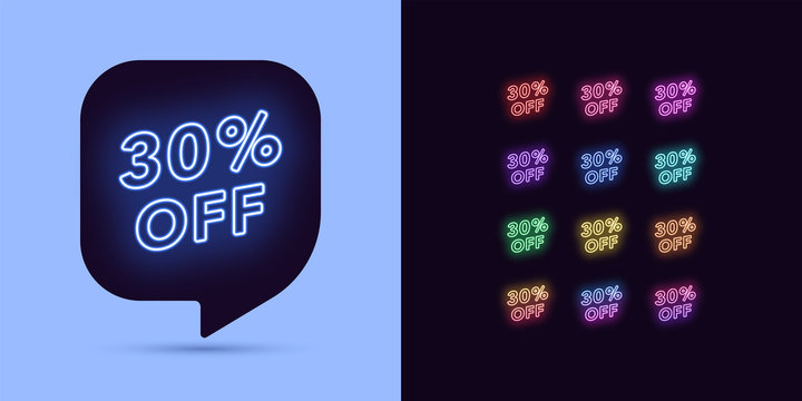 Neon Discount Tag, 30 Percentage Off. Offer Sale