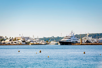 Sea bay marina with yachts and boats in Cannes