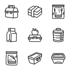 School lunch box icon set. Outline set of 9 school lunch box vector icons for web design isolated on white background