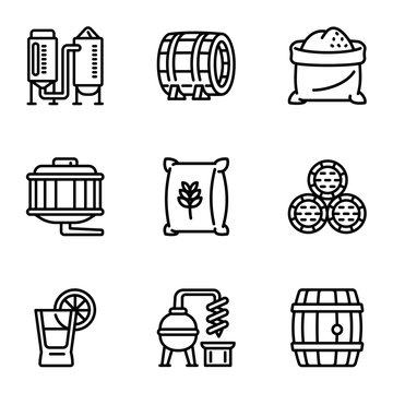 Whiskey preparation icon set. Outline set of 9 whiskey preparation vector icons for web design isolated on white background