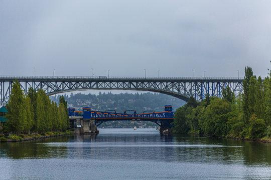 Two Bridges Over Lake Union near Seattle