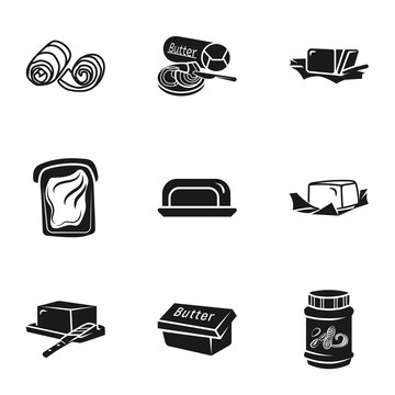 Culinary butter icon set. Simple set of 9 culinary butter vector icons for web design isolated on white background