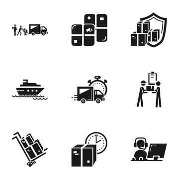 Transport parcel delivery icon set. Simple set of 9 transport parcel delivery vector icons for web design isolated on white background