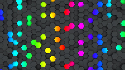Colorful hexagon wallpaper or background