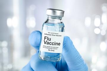 Fototapeta Small drug vial with influenza vaccine obraz