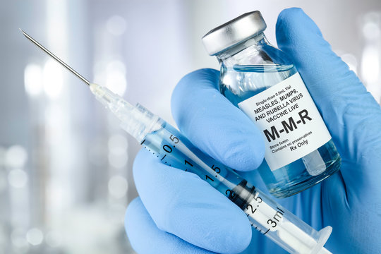 Small drug vial with MMR vaccine