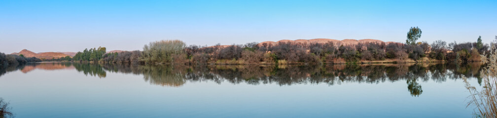 Vaal River Winter Landscape Wide Panorama Water Reflection Vredefort Dome Reflection Mirror Banks