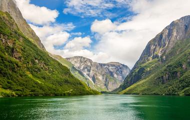 Green mountain walls along narrow Naeroy fjord,  Aurlan, Sogn og Fjordane county, Norway