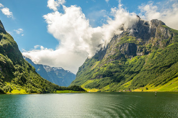 Green mountain peak above the small village in Naeroy fjord,  Aurlan, Sogn og Fjordane county, Norway