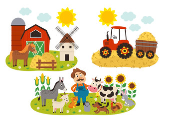 set of isolated farm scenes - vector illustration, eps