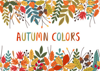 seamless horizontal banner with autumn colorful plants - vector illustration, eps