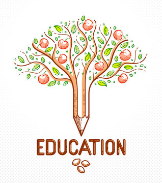 Beautiful fruit apple tree with pencil combined into a symbol, education concept vector linear style logo or icon. The seeds and the fruits as the consequences.