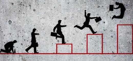 コンクリート壁に描いたビジネス概念