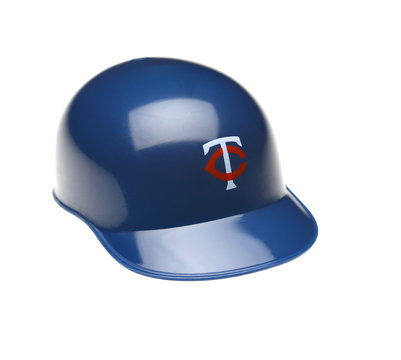 IRVINE, CALIFORNIA - FEBRUARY 27, 2019:  Closeup of a mini collectable batters helmet for the Minnesota Twins