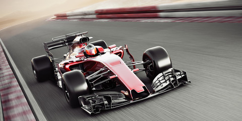 Stores à enrouleur F1 Motor sports competitive team racing. Fast moving generic race car racing down the track with motion blur. 3d rendering with room for text or copy space