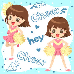 Cute cheerleader with pink uniform character cartoon and blue font accessory on white background - vector