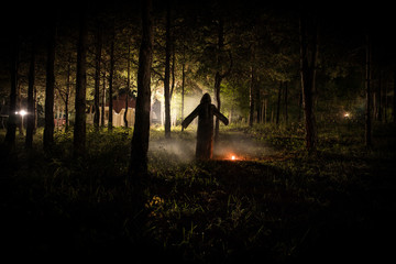 strange light in a dark forest at night. Silhouette of person standing in the dark forest with light. Dark night in forest at fog time. Surreal night forest scene. Wall mural