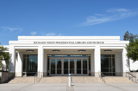 YORBA LINDA, CALIFORNIA - FEBRUARY 24, 2017: Richard Nixon Library and Birthplace main entrance. The presidential library and museum and final resting place of the 37th president.