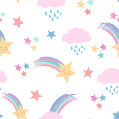 Seamless repeat pattern in pastel colors with shooting stars with cute smiling faces, rainbows and clouds