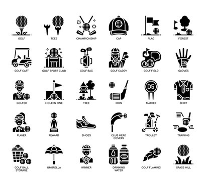 Golf Elements, Glyph Icons