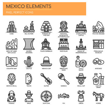 Mexico Elements , Thin Line and Pixel Perfect Icons