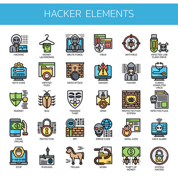 Hacker Elements , Thin Line and Pixel Perfect Icons