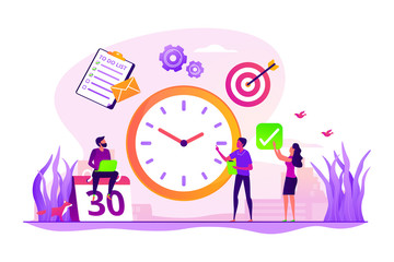Work schedule, timetable managing. Workflow organization. Effective work scheduling. Time management, effective time spending, time planning concept. Vector isolated concept creative illustration - fototapety na wymiar