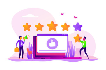 Customer feedback, client review. Social media networks, online service evaluation. Rank and rating scale, high-ranking, top-ranking concept. Vector isolated concept creative illustration