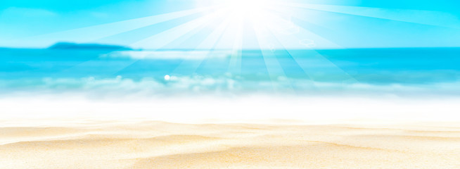 Poster Turquoise Panorama view of blur beautiful tropical beach with bokeh sun light wave abstract background.