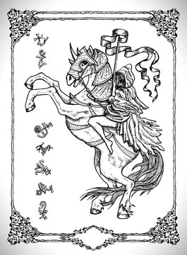 Girl rider in cloak sitting on horse. Vector line art engraved illustration in gothic style. No foreign language, all symbols are fantasy. Occult, esoteric, Halloween and mystic concept