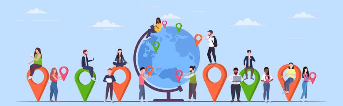 people placing geo tags pointers on globe mix race travelers near earth planet holding location markers gps navigation business position travel concept flat full length horizontal