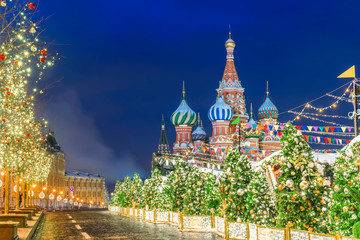 Christmas in Moscow. Red Square in Moscow