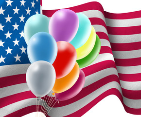 3d image of balloons on USA flag background closeup