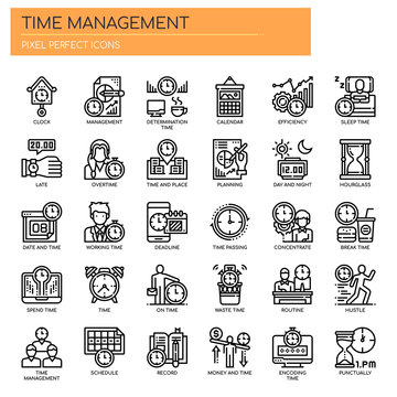 Time Management , Thin Line and Pixel Perfect Icons