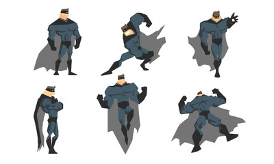 Superhero in Different Action Poses Set, Courageous Superhero Character in Gray Costume and Black Mask Vector Illustration