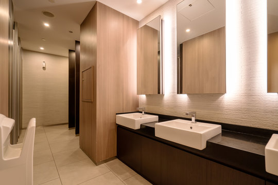 Hotel bathroom with modern architectural style..