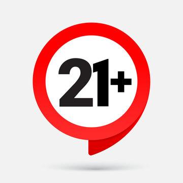 21 Icon isolated on gray background. Age restriction sign. twenty one plus symbol, UI. Vector illustration