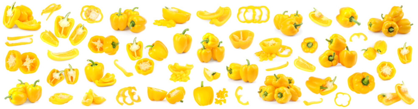Set of ripe yellow bell peppers on white background. Banner design