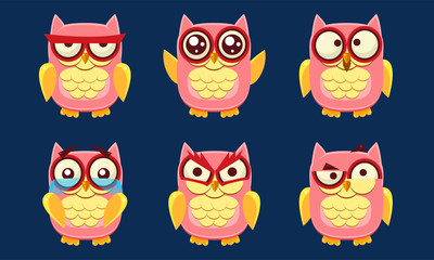 Wall Mural - Funny Owls Characters Set, Cute Pink Birds with Various Emotions Vector Illustration