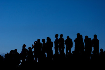 Silhouette of concert crowd