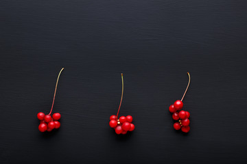 Schisandra chinensis or five-flavor berry. Fresh red ripe berries on black background. Top view. Copy space. Food background.