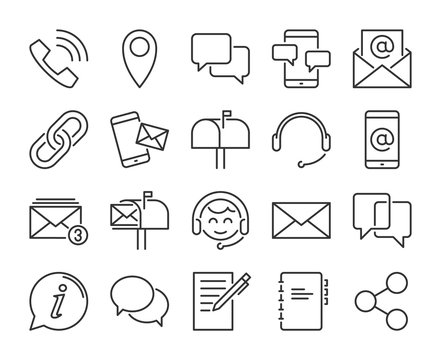 Contact Us icon. Contact and communication line icons set. Editable stroke. Pixel Perfect.