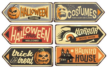 Halloween signs collection. Vintage vector signpost for Halloween festival, costumes shop, horror movie show, haunted house. Holiday designs set.