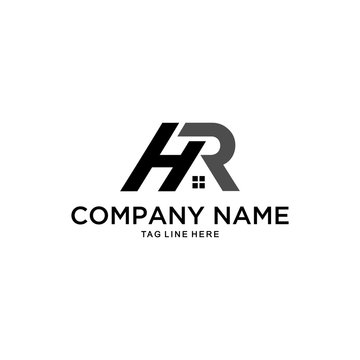 Inspiration sign / logo for companies with initials H & R in the form of a unique roof of the house.