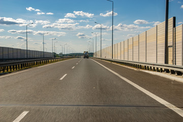 expressway in Poland equipped with sound-absorbing screens
