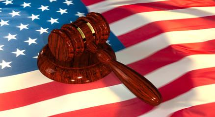 Judge Gavel with American flag-3d illustration