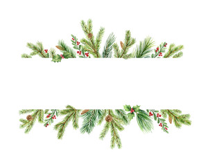 Fototapeta Watercolor vector Christmas banner with green pine branches and place for text. obraz