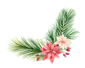 Watercolor vector Christmas wreath with fir branches and flowers of poinsettia.